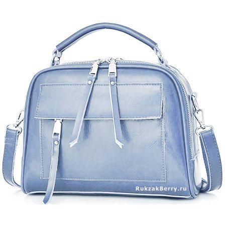 фото модная сумка кожаная голубая Дана