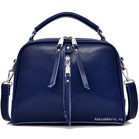 фото модная сумка кожаная синяя Дана