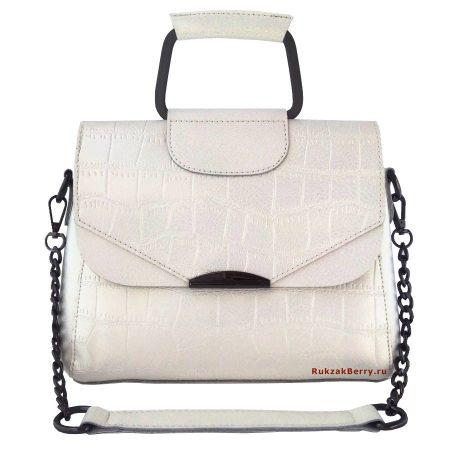 фото модная сумка кожаная на цепочке белая рептилия 4 Сэльма