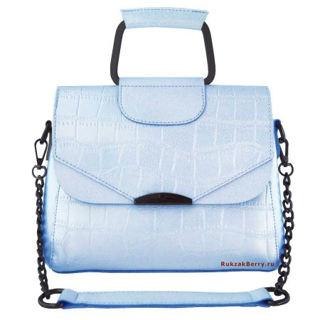 фото модная сумка кожаная на цепочке голубая рептилия Сэльма