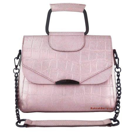 фото модная сумка кожаная на цепочке розовая рептилия Сэльма