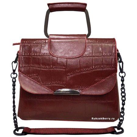 фото модная сумка кожаная на цепочке красная рептилия Сэльма