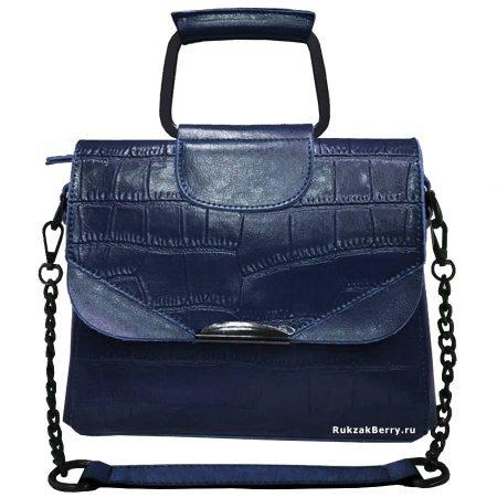 фото модная сумка кожаная на цепочке синяя рептилия Сэльма