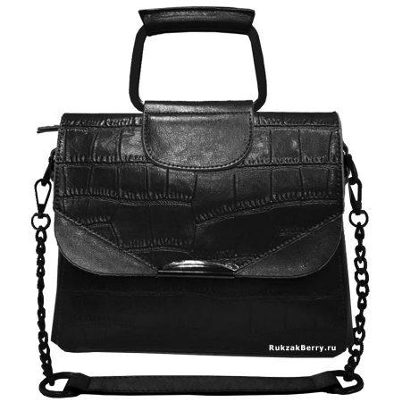 фото модная сумка кожаная на цепочке черная рептилия Сэльма