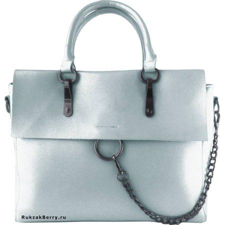 фото модная сумка кожаная серо голубая Лойя