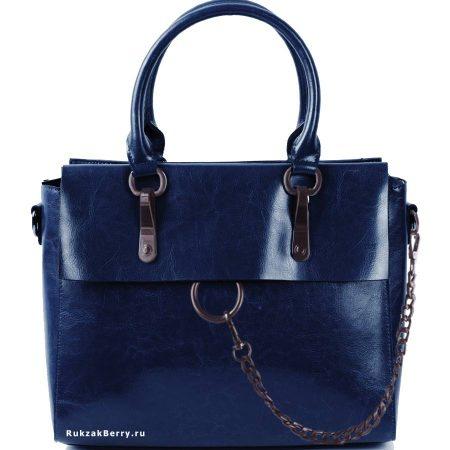 фото модная сумка кожаная синяя Лойя