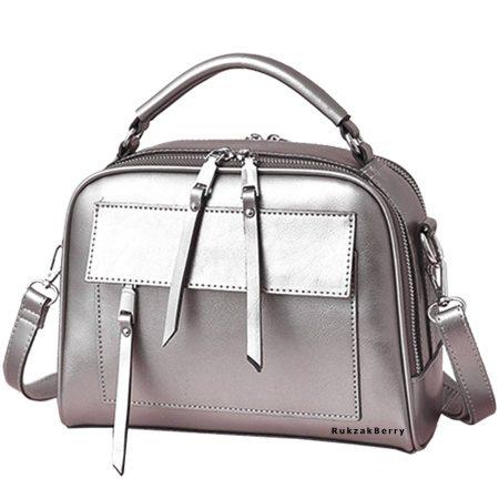 фото модная сумка кожаная серебряная Дана