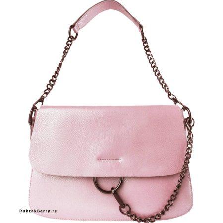 фото модная сумка кожаная розовая пудра Эмми