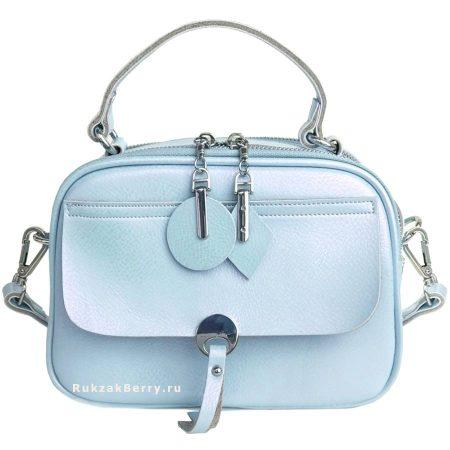фото модная сумка кожаная голубая Агния