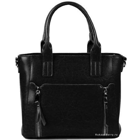фото модная сумка кожаная черная Эльза