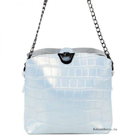 фото модная сумка кожаная голубая под рептилию Лаура