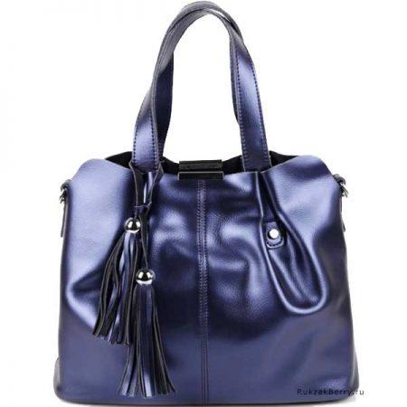 фото модная сумка кожаная синяя хобо мешок средняя Илона