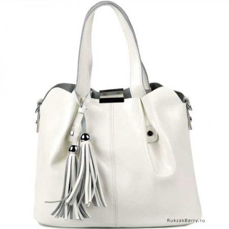 фото модная сумка кожаная белая хобо средняя Илона