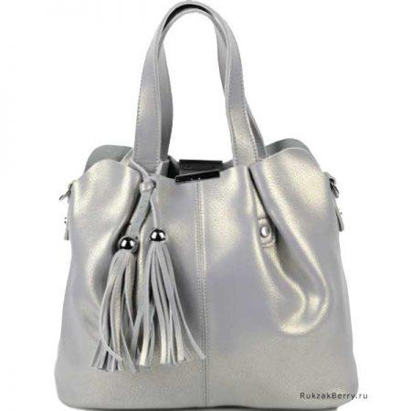 фото модная сумка кожаная серая хобо средняя Илона