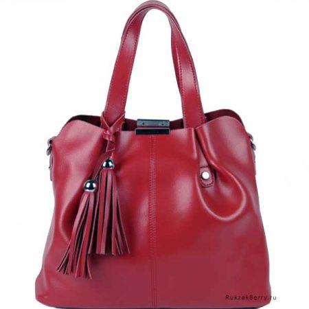 фото модная сумка кожаная красная хобо средняя Илона