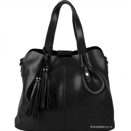 фото модная сумка кожаная черная хобо средняя Илона
