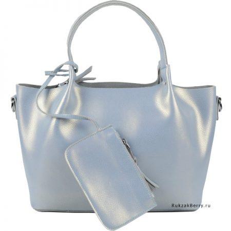 фото модная сумка кожаная голубая мягкая средняя Ванда
