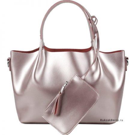 фото модная сумка кожаная розовая пудра мягкая средняя Ванда