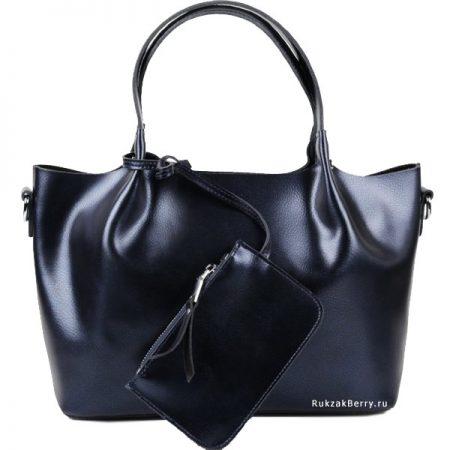фото модная сумка кожаная синяя мягкая средняя Ванда