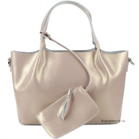 фото модная сумка кожаная бежевая мягкая средняя Ванда