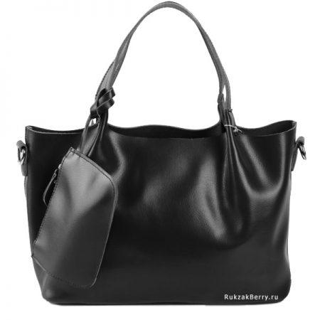 фото модная сумка кожаная черная хобо средняя Ванда