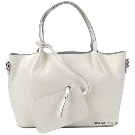 фото модная сумка кожаная белая мягкая средняя Ванда